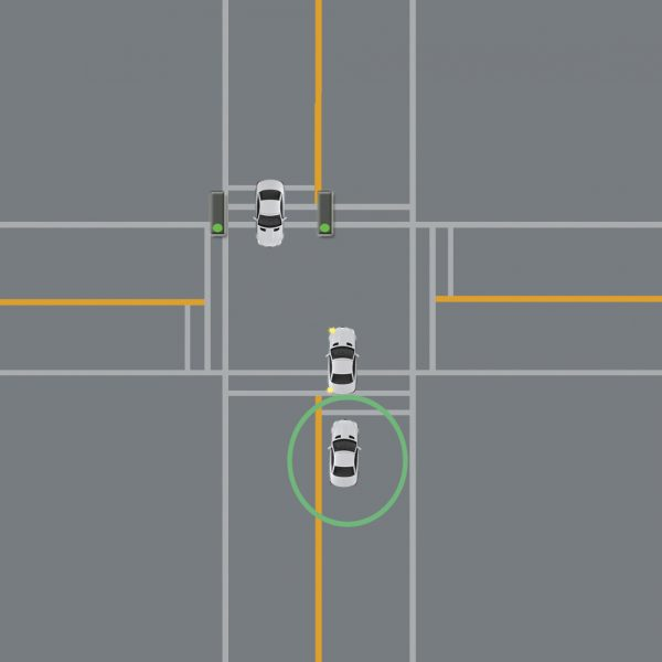 wait behind line for intersection