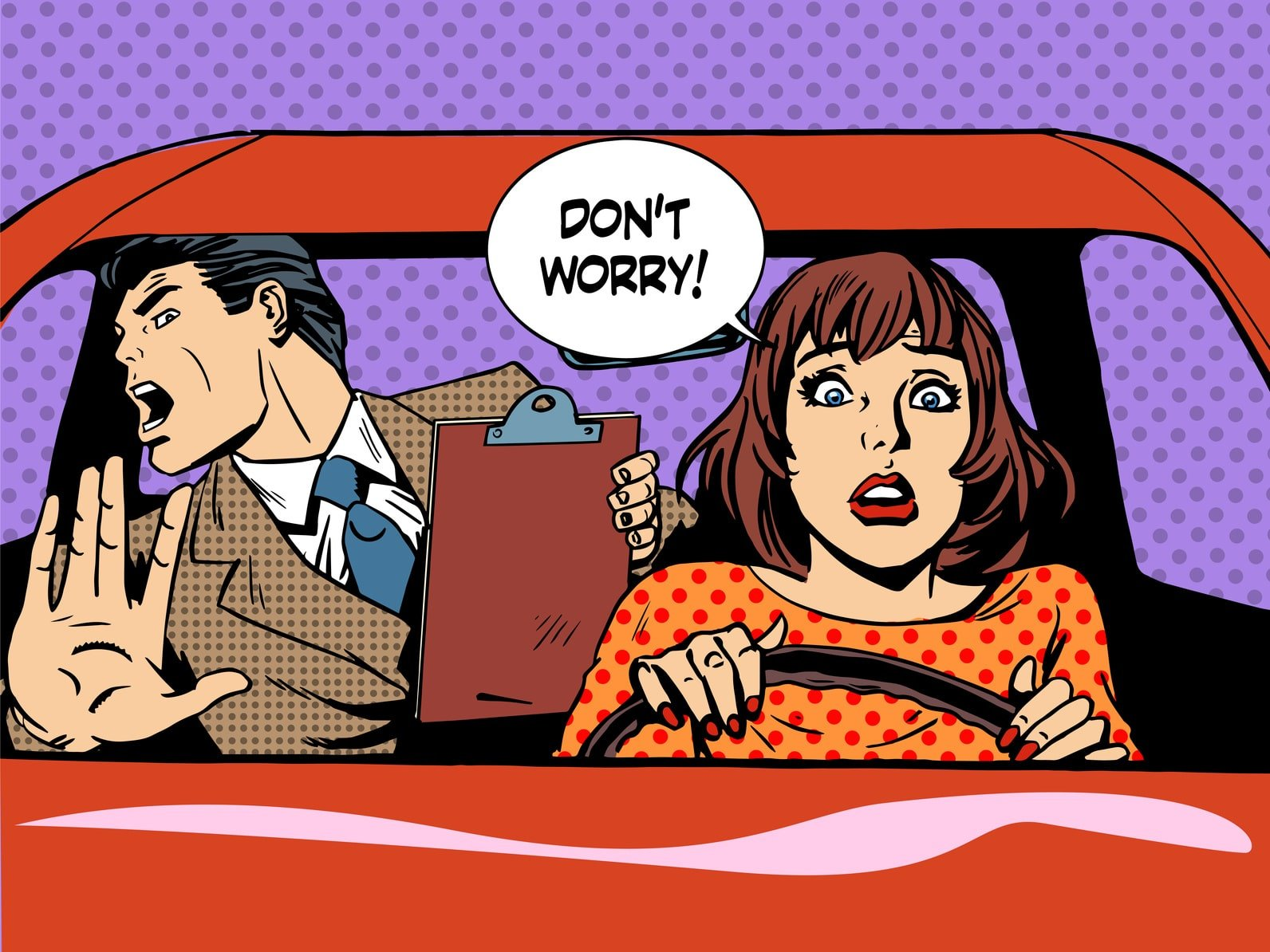 woman driver driving school panic calm retro style pop art. Car and transport