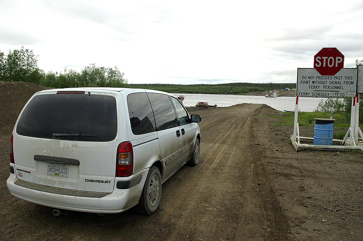 van waiting for ferry dempster highway
