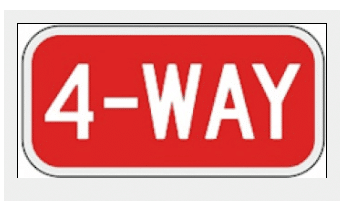 4-Way-Stop Sign Red and White Tab Canada