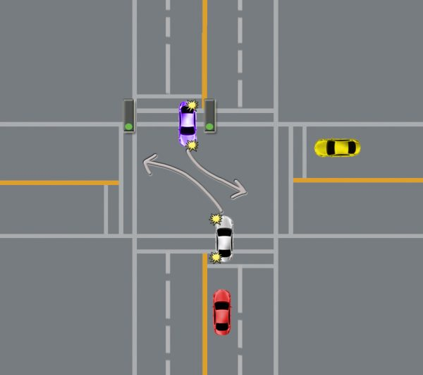 changing lanes in an intersection