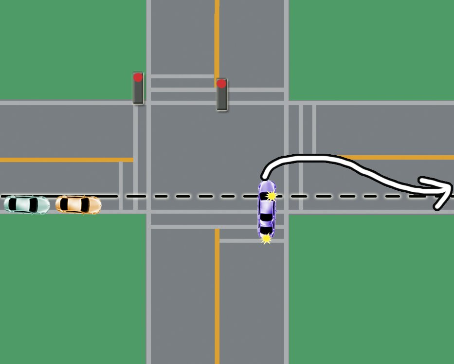wide turns at intersection