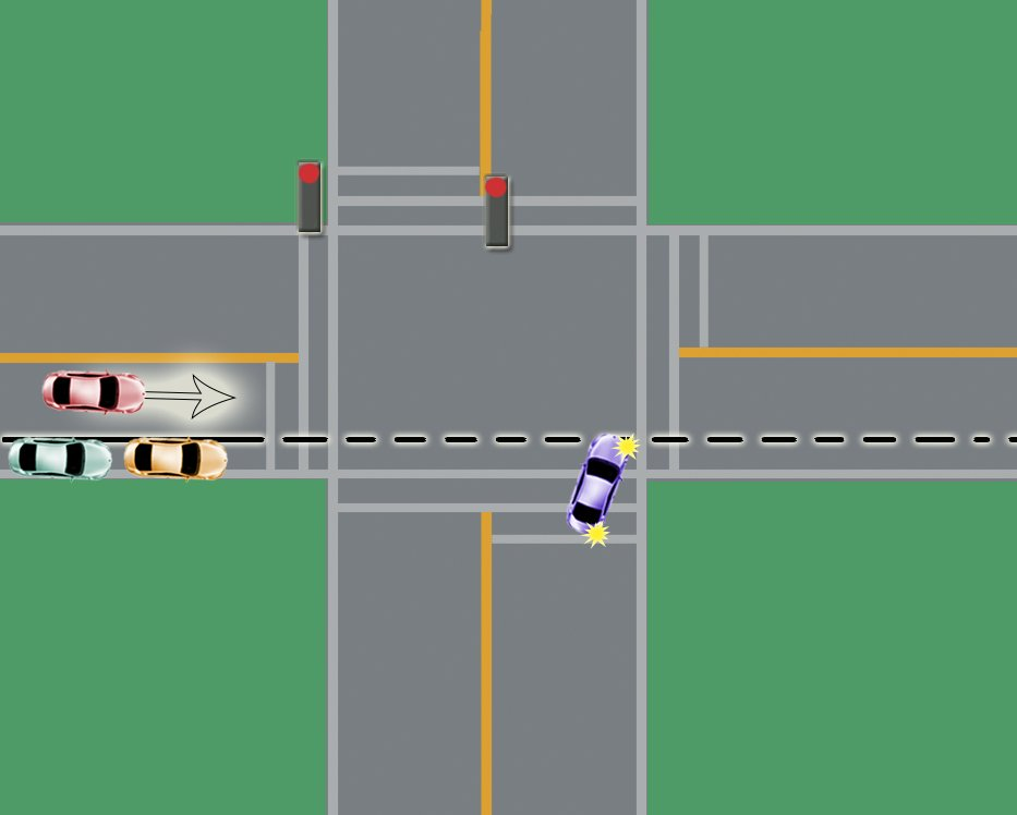 intersection driving turns