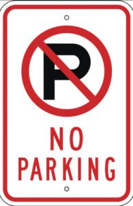 no parking road sign