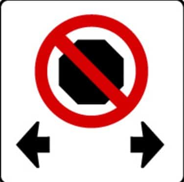 no stopping road sign