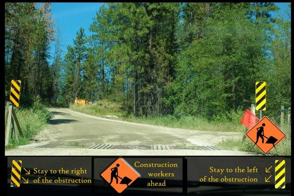 construction and obstruction road signs