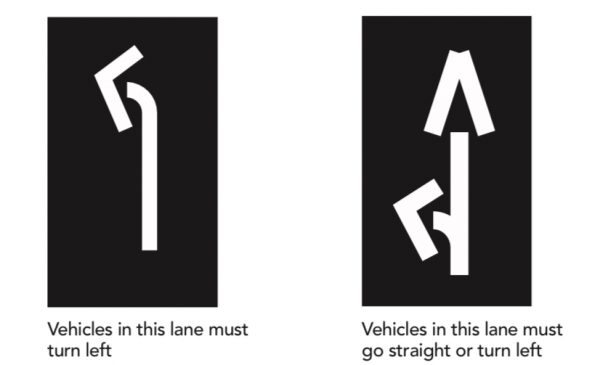 pavement markings for turns