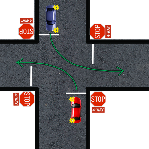 left turn four way stop