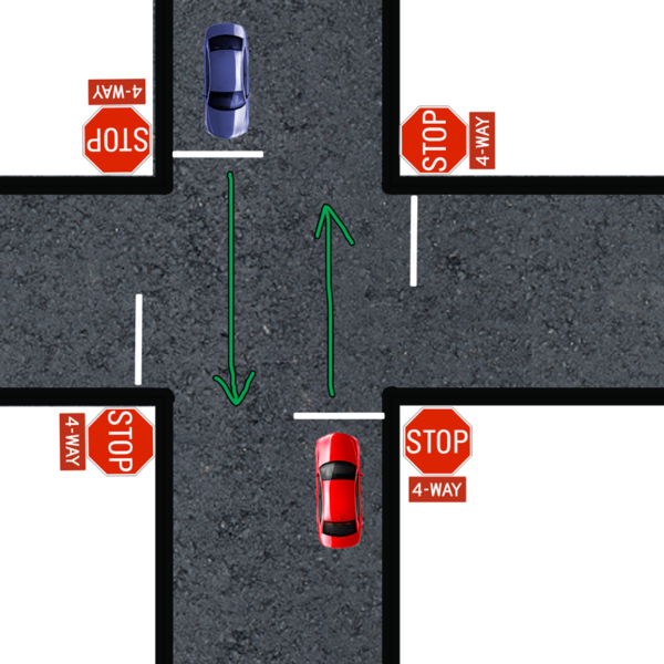 both going straight 4 way stop