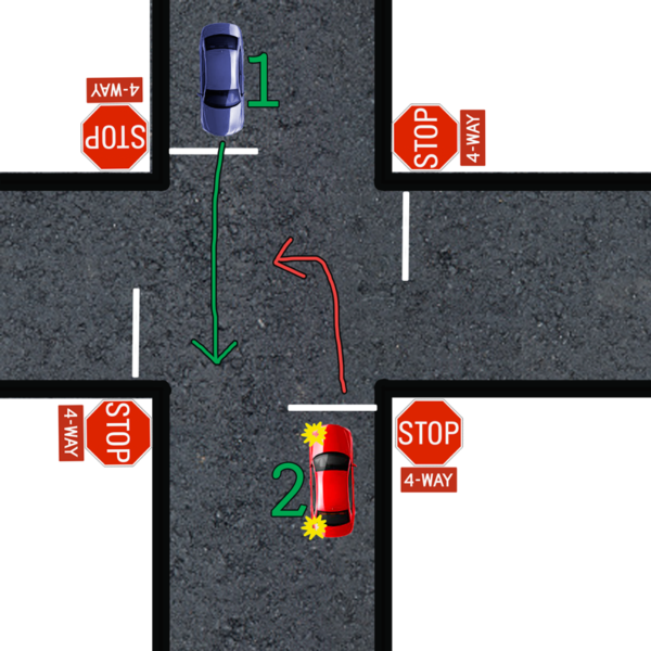 left turn yield four way stop
