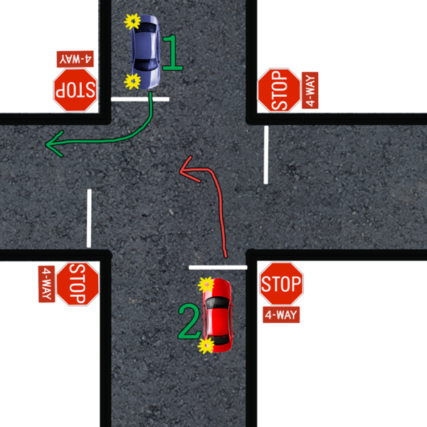 left turn yield to right turn four way stop
