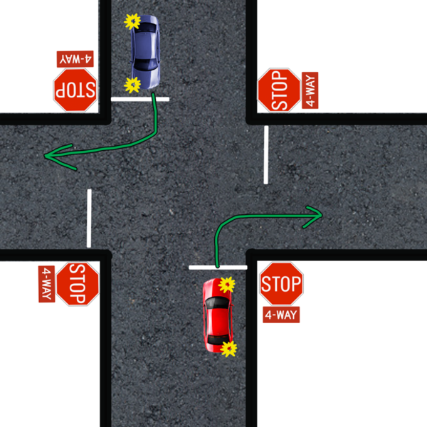 right turn four way stop