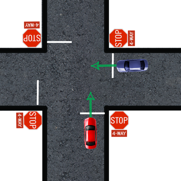 yield to the right at four way stop